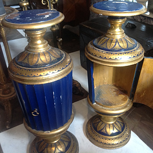Pair of painted pedestal decorative cupboards
