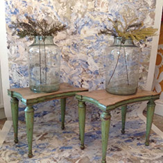 Pair of unusual French hand painted side tables /stools
