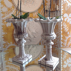 Pair of wooden painted decorative Urns