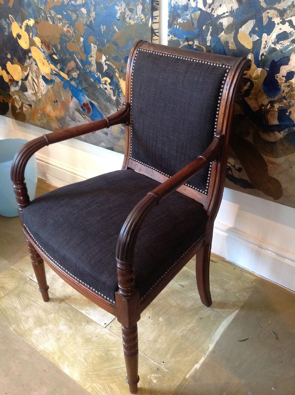Regency mahogany open arm desk chair