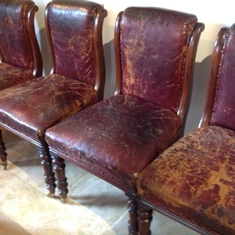 Set of 6 19thC mahogany leather chairs