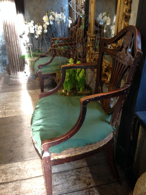 6 antique wooden painted arm chairs - 6 Antique Wooden Painted Arm Chairs Furniture