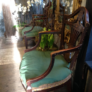 6 antique wooden painted arm chairs