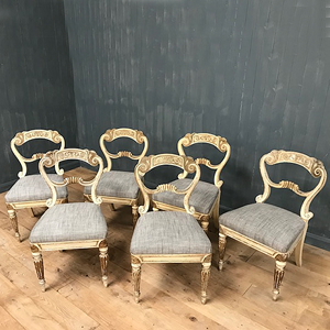 Set of C19th Gillows carved and painted Chairs